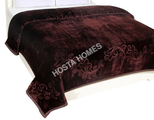 Coffee Color Embossed Single Mink Blanket (All Weight Available )