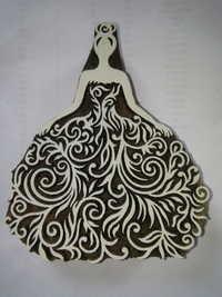 Hand Carved Wooden Western Bride Printing Block
