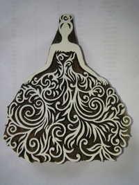 Hand Carved Wooden Western Bride Printing Block