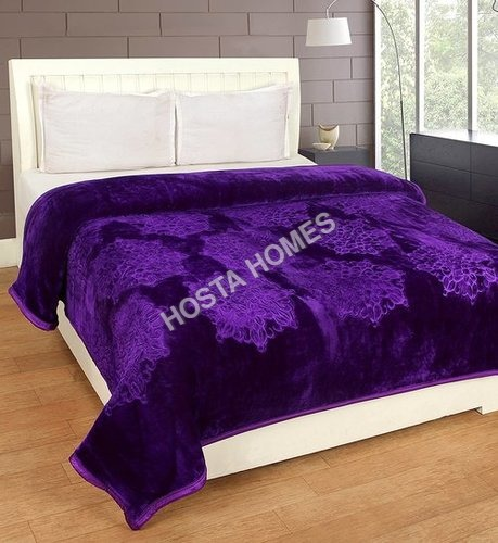 Purple Color Single Bed Embossed Mink Blanket