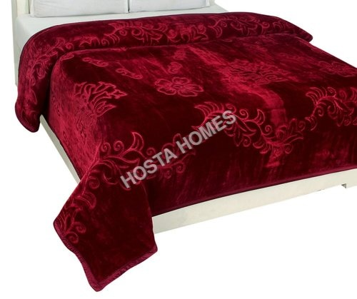 Red color Single Bed Embossed Mink Blanket (All Weight Available)