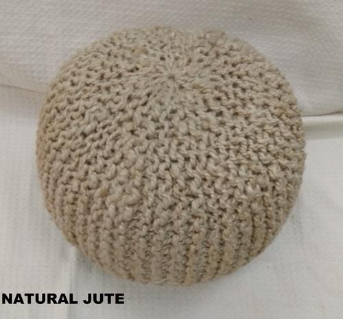 Natural Jute Round Pouffe