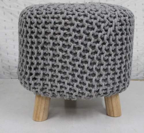 Knitted Cotton Pouffe Footstool