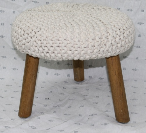 Round Knitted Footstool