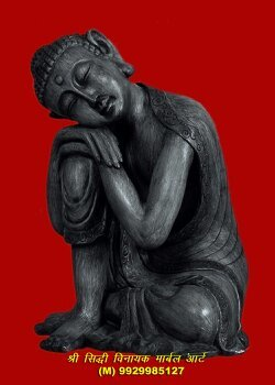 Black Marble Buddha Sculpture