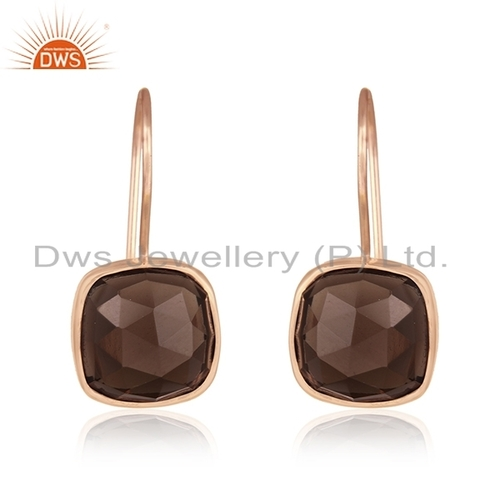 Smoky Quartz Stone Rose Gold Plated Earrings