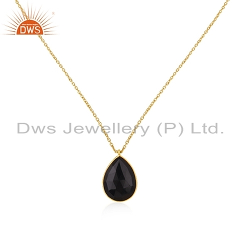 Yellow Gold Plated Silver Gemstone Pendant
