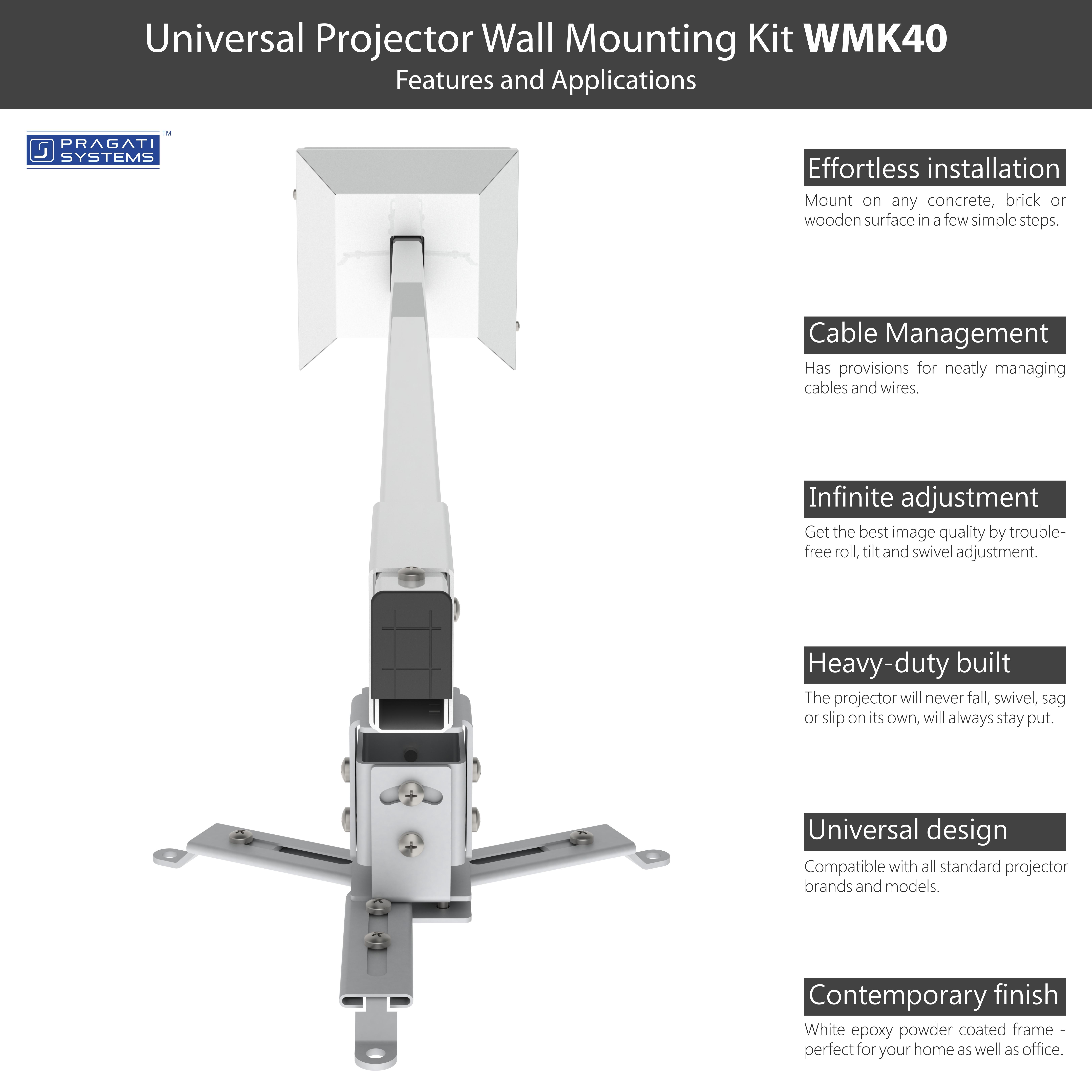 Universal Extendable Projector Wall Mount (4 Feet)