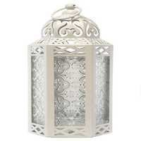Vela Lanterns Mid-Size Table/Hanging Glass Hexagon Moroccan Candle Lantern Holders - White