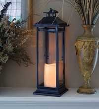 LumaBase 90401 Traditional Metal Lantern with LED Candle