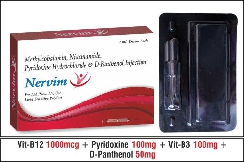 Methylcobalamin 1000 mcg+Niacinamide 100 mg+Pyridoxine 100 mg+D - Panthenol 50 mg