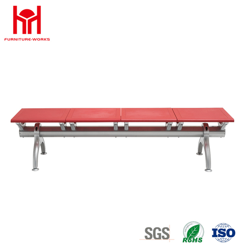 Hot Sale 4 Seaters Steel Red Waiting Chair Without Back