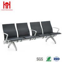 4 Seaters Steel Black Waiting Chair with PU Back and Seat