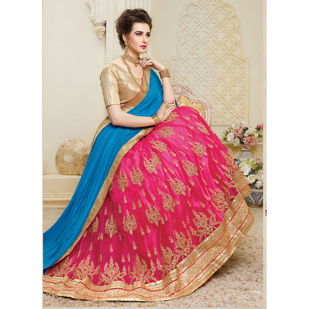 Ladies Rani Net Wedding Embroidery Lehenga Choli