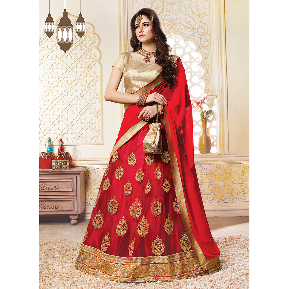 Ladies Red Net Wedding Embroidery Lehenga Choli