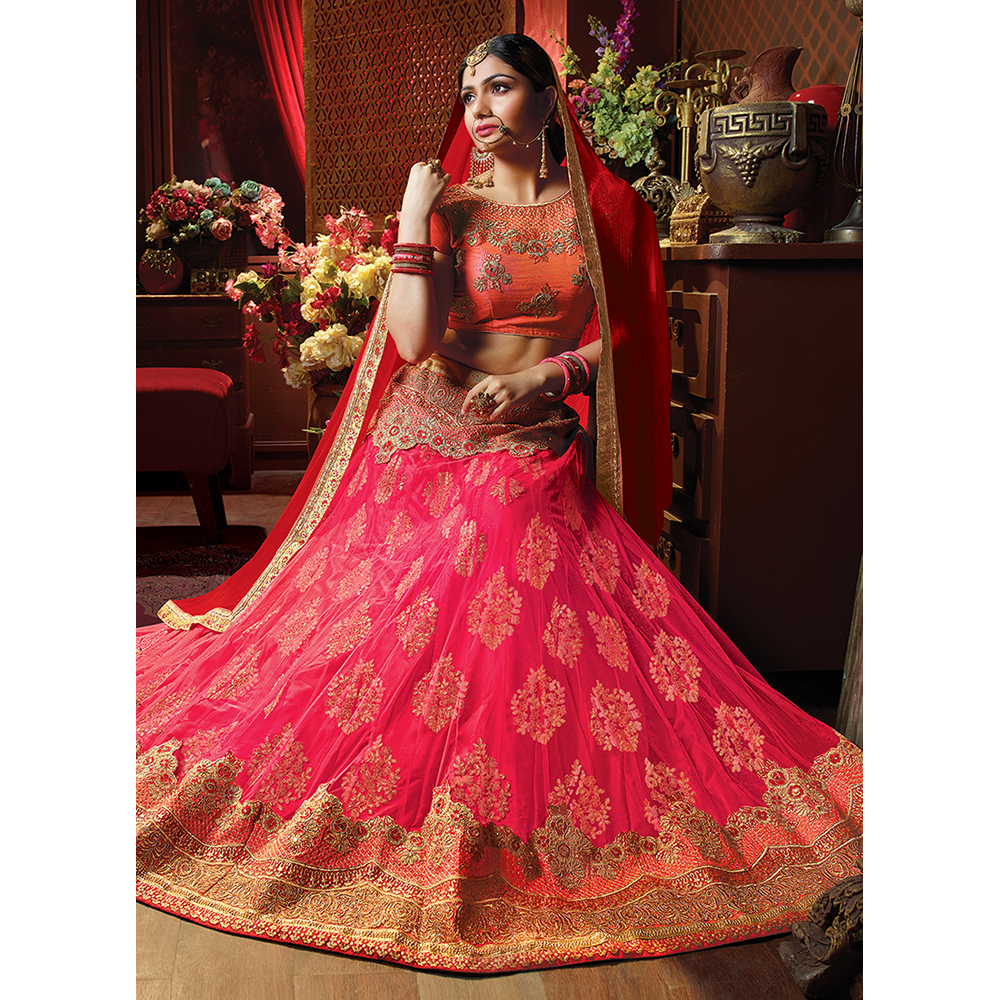 Ladies Pink Net Embroidery Work Lehenga Choli