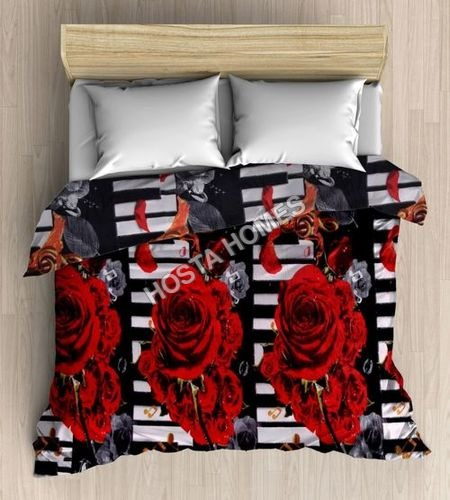 Double Bed Blanket Floral Design Red & Black