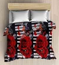 Double Bed Blanket Floral Design Red & Black