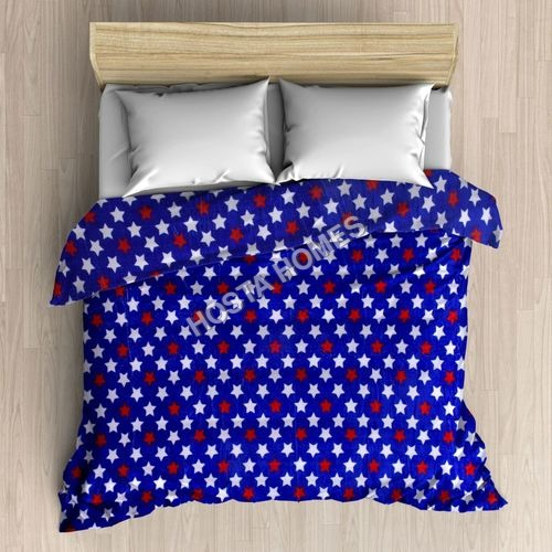 Double Bed Blanket with Star Blue & White Design