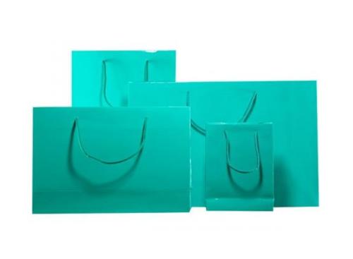 Aqua Green Gloss Laminated Carrier Bag