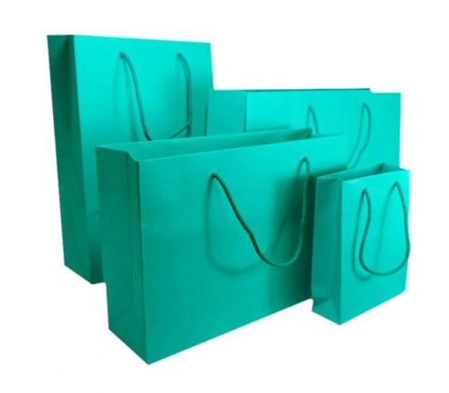 Aqua Green Matt Laminated Carrier Bag