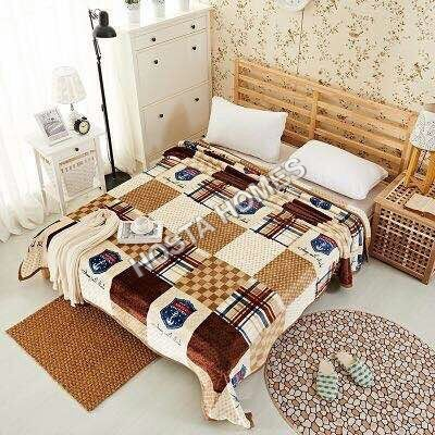 Abstract Design with Brown & White Double Bed AC Blanket