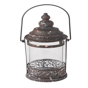 Rustic Large Metal and Glass Round Candle