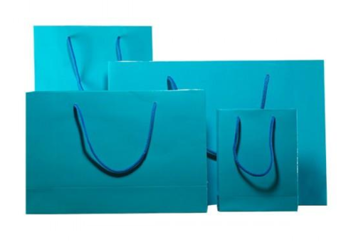 Turquoise Blue Gloss Laminated Carrier Bag