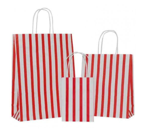 Red Stripes on White Paper Carrier Bag
