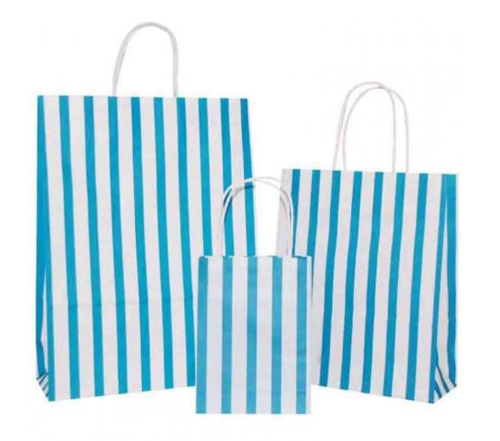 Turquoise Blue Stripes on White Paper Carrier Bag