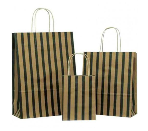 Black Stripes on Brown Paper Carrier Bag
