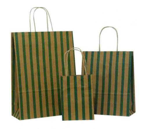 Dark Green Stripes on Brown Paper Carrier Bag