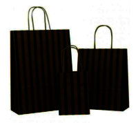 Dark Green Stripes on Brown Paper Carrier Bag