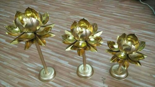 Brass Lotus Candle Stand -Set of 3