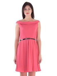 Pink Silk Solid Cut-Out Dresses