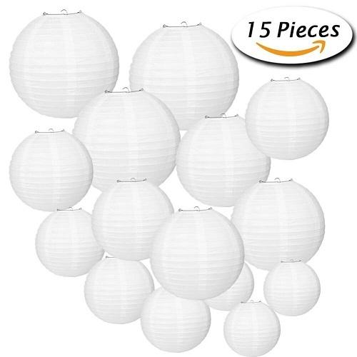 Paxcoo 15 Packs White Round Paper Lanterns