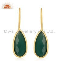 18k Gold Plated Earrings Silver Green Onyx Gemstone Earrings Jewelry