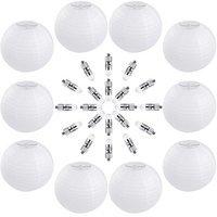 Vastar 10 Packs 12 Inch White Round Paper Lanterns