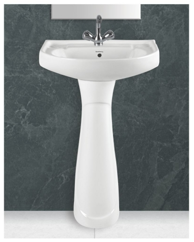 Ceramic Plain White Pedestal Wash Basin