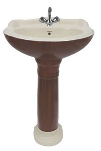 Red Brown Wooden Pedestal Wash Basin