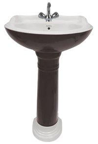 Black Wooden Pedestal Wash Basin
