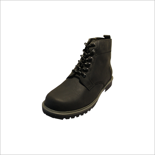 Black Ankle Length Leather Boot