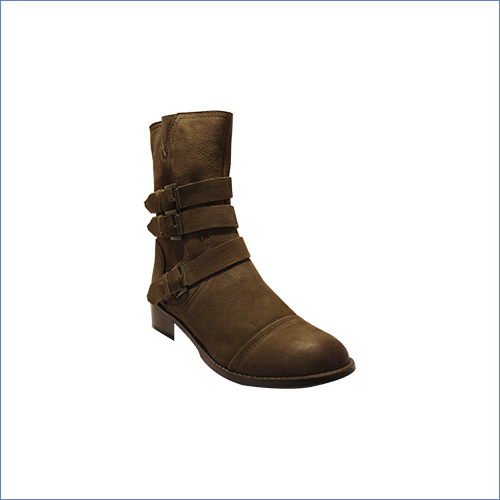 Brown Buckled Ankle Length Boot