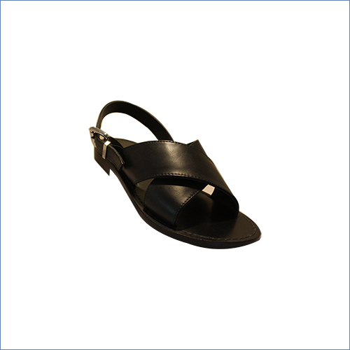 Buckle Black Leather Sandal