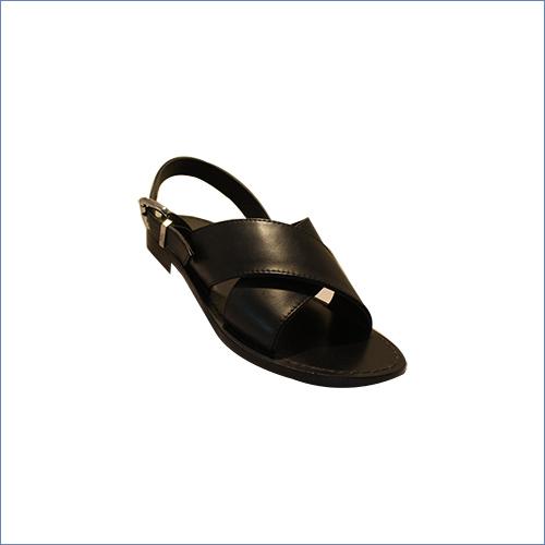 Buckle Black Leather Sandal