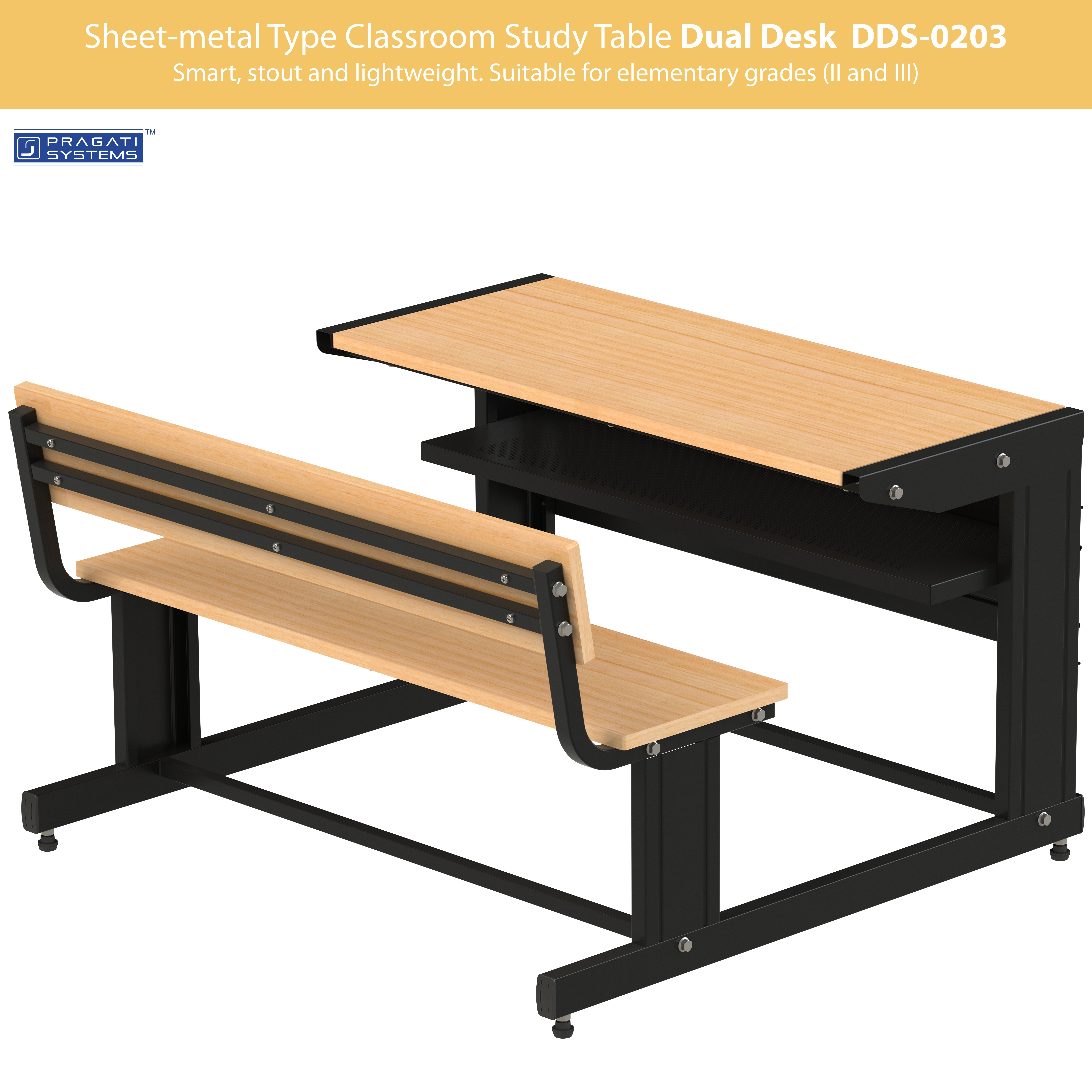 Sheet Metal Classroom Study Dual Desk Dds 0203