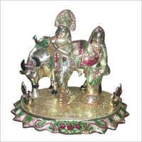 Radha Krishna Silver Statue