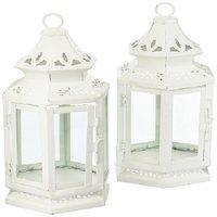White Medium Candle Lantern Set of 2