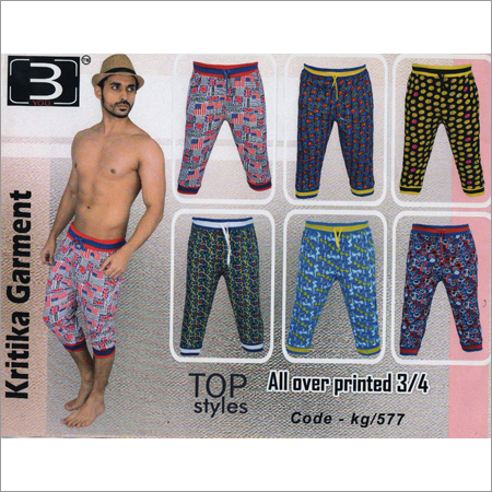 Men's All Over Printed 3/4 Pant