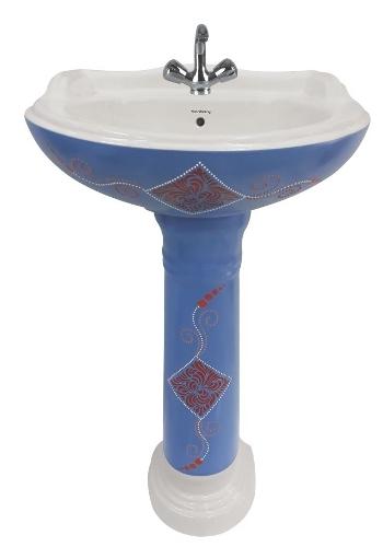Matt Series Alpine Blue Pedestal Wash Basin